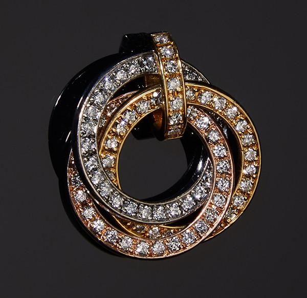 Женский кулон из желтого, белого и розового золота с бриллиантами С43Л1№26