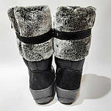 Женские спортивгые сапоги на меху. Зимние дутики на плоской подошве Черные, фото 7