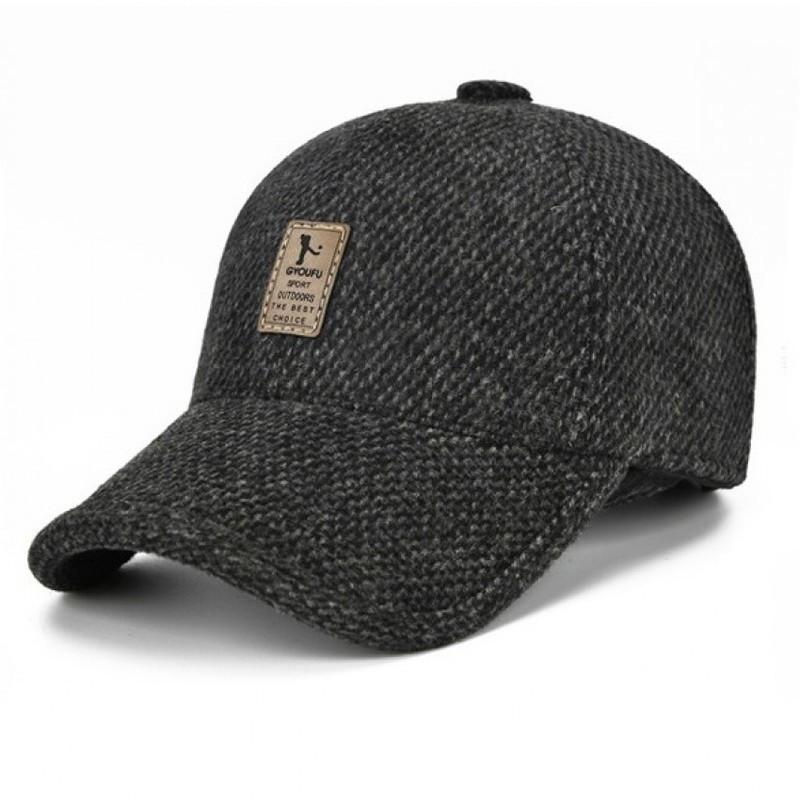 Стильна зимова кепка з вухами Sports SGS чорного кольору