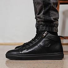 Зимние мужские ботинки 31921, Philipp Plein (мех), черные, [ 41 ] р. 40-26,5см. 41