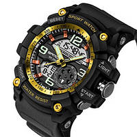 Часы Sanda 759 Black-Gold, Спортивные, Женские-Мужские, Каучуковый ремешок