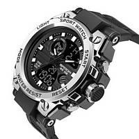 Часы Sanda 739 Black-Silver, Спортивные, Женские-Мужские, Каучуковый ремешок