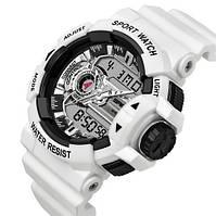 Часы Sanda 599 White-Silver, Спортивные, Женские-Мужские, Каучуковый ремешок