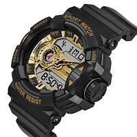 Часы Sanda 599 Black-Gold, Спортивные, Женские-Мужские, Каучуковый ремешок