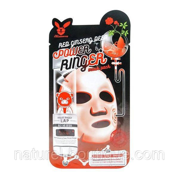 Маска тканевая для лица Elizavecca Power Ringer Red  Ginseng Deep с экстрактом красного женьшеня
