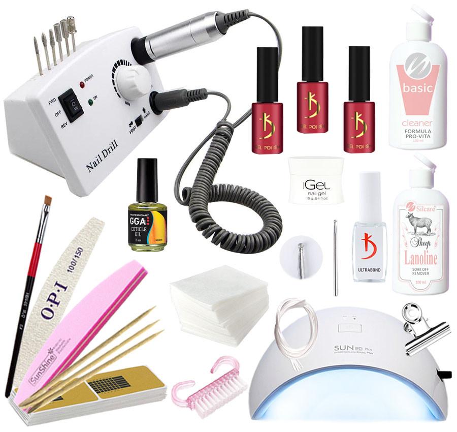 Hабор для наращивания ногтей гелем iGeL и покрытия гель-лаком Kodi с LED лампой 36 Вт и фрезером DM-211