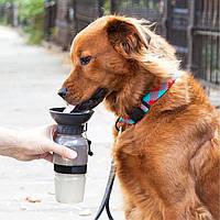 Портативна поїлка для собак в дорогу Aqua Dog сіра, дорожня поїлка для собак   поилка для собак