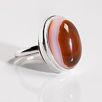 Серебряное кольцо с агатом, 18*13 мм., 1601КА