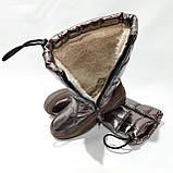 Женские спортивные сапоги на меху. Зимние дутики на плоской подошве Золотистые, фото 3