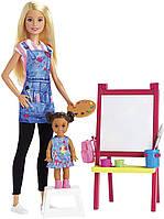 Лялька Барбі Вчитель малювання Я можу бути Barbie Art Teacher Playset Blonde with Doll