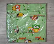 Комплект постельный детский 3 предмета,простынь на резинке , цвета арт 292 . зеленый Совы