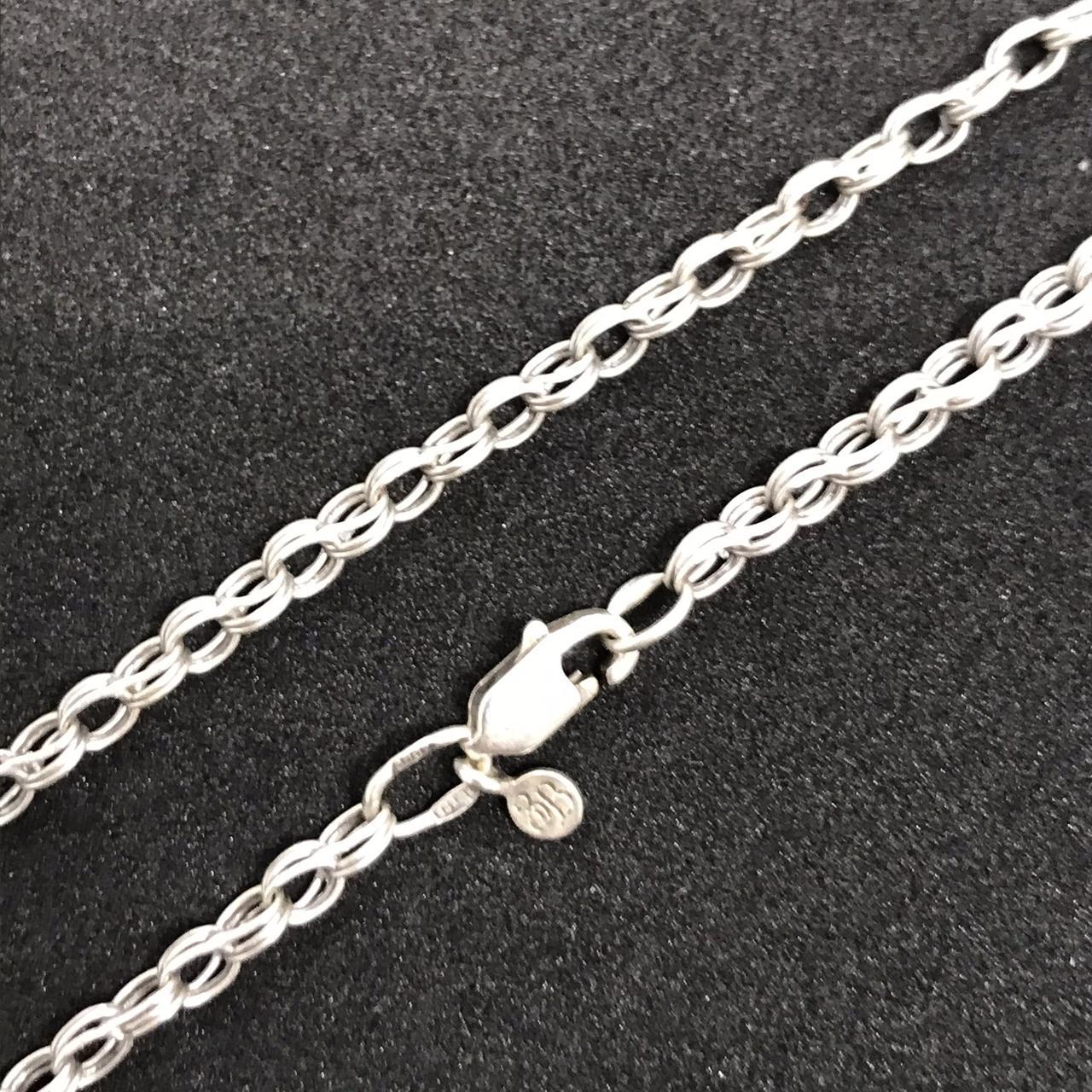 Серебряная цепочка Б/У 925 пробы, плетение фантазийное, длина 54 см, вес 6,38 г. Серебро БУ в Украине