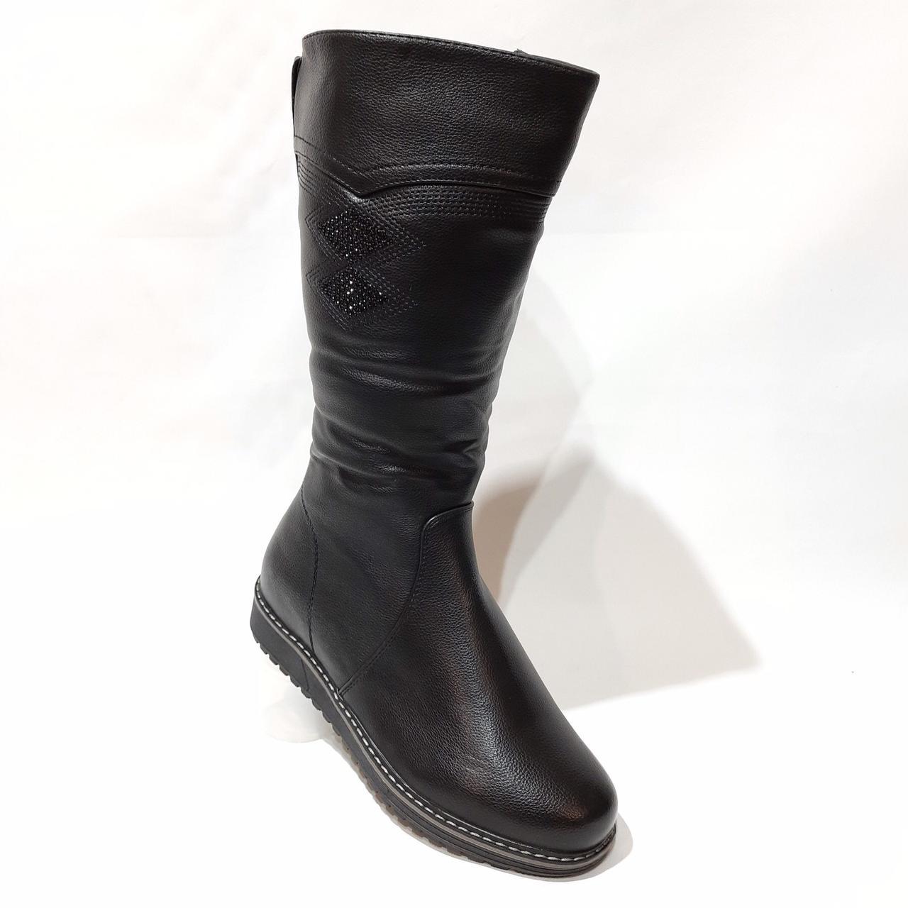 Жіночі зимові чоботи з ека-шкіри Чорні р. 38,39,40,42