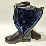 Жіночі зимові чоботи з ека-шкіри Чорні р. 38,39,40,42, фото 3