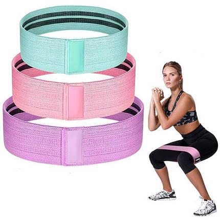 Фитнес резинки набор 3 шт тканевые для фитнеса в мешочке Ленты сопротивления Эспандеры для ног ягодиц, фото 2