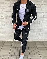 Молодежный спортивный костюм черного костюм с лампасами ADIDAS ( реплика) ( реплика )