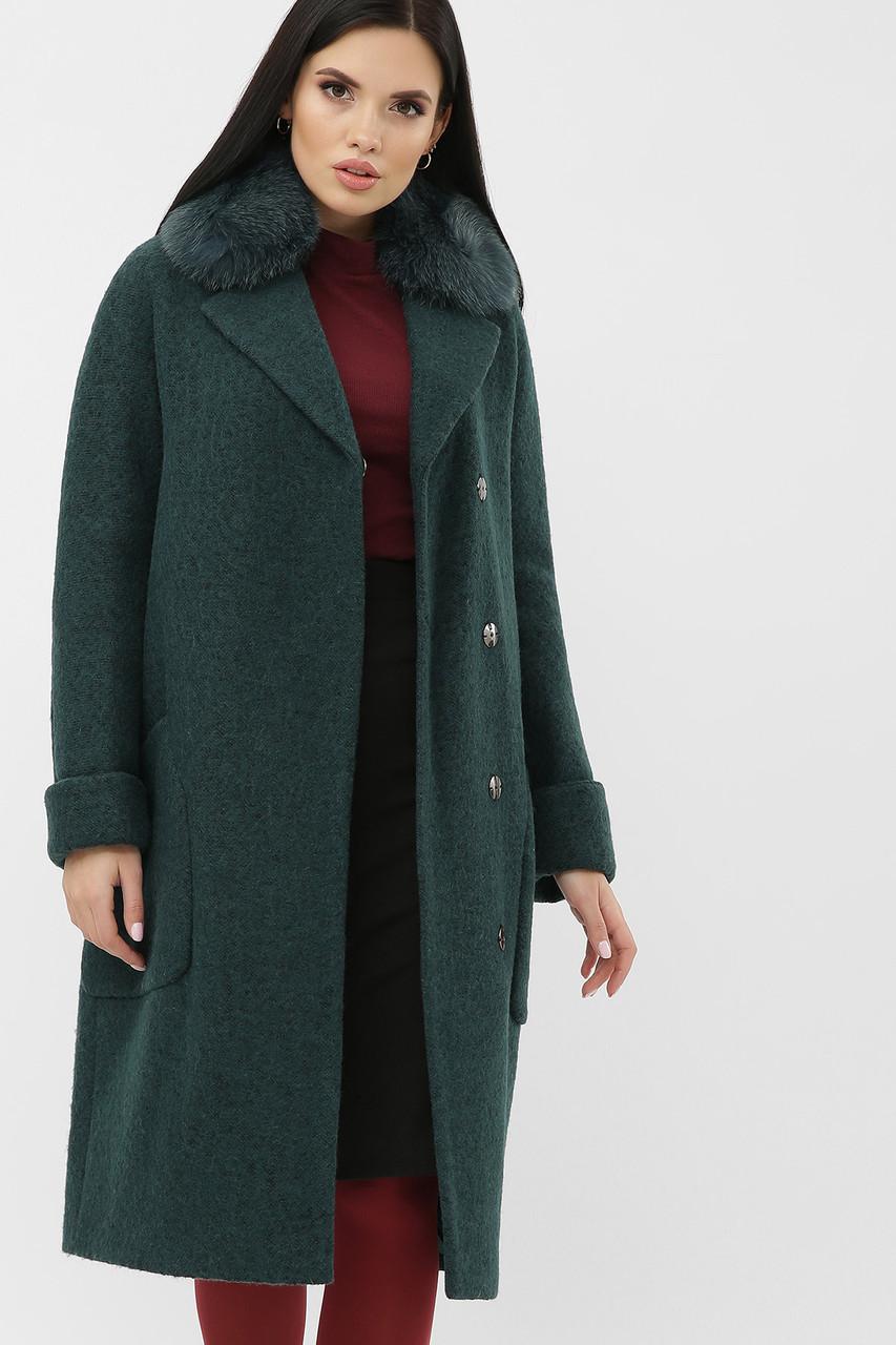 Зимнее женское пальто с меховым воротником изумрудное MS-184 Z