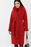 Зимнее женское пальто с меховым воротником красное MS-184 Z, фото 2