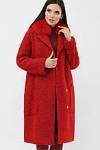 Зимнее женское пальто с меховым воротником красное MS-184 Z