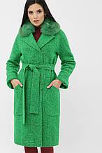 Зимнее женское пальто с меховым воротником зеленое MS-184 Z