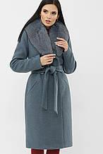 Зимнее женское пальто с мехом серо-голубое MS-255 Z