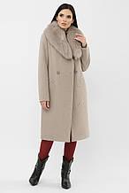 Зимнее женское пальто с мехом светло-серое MS-255 Z