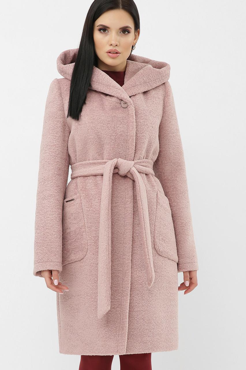 Пальто женское с капюшоном зимнее пудровое MS-259-К Z
