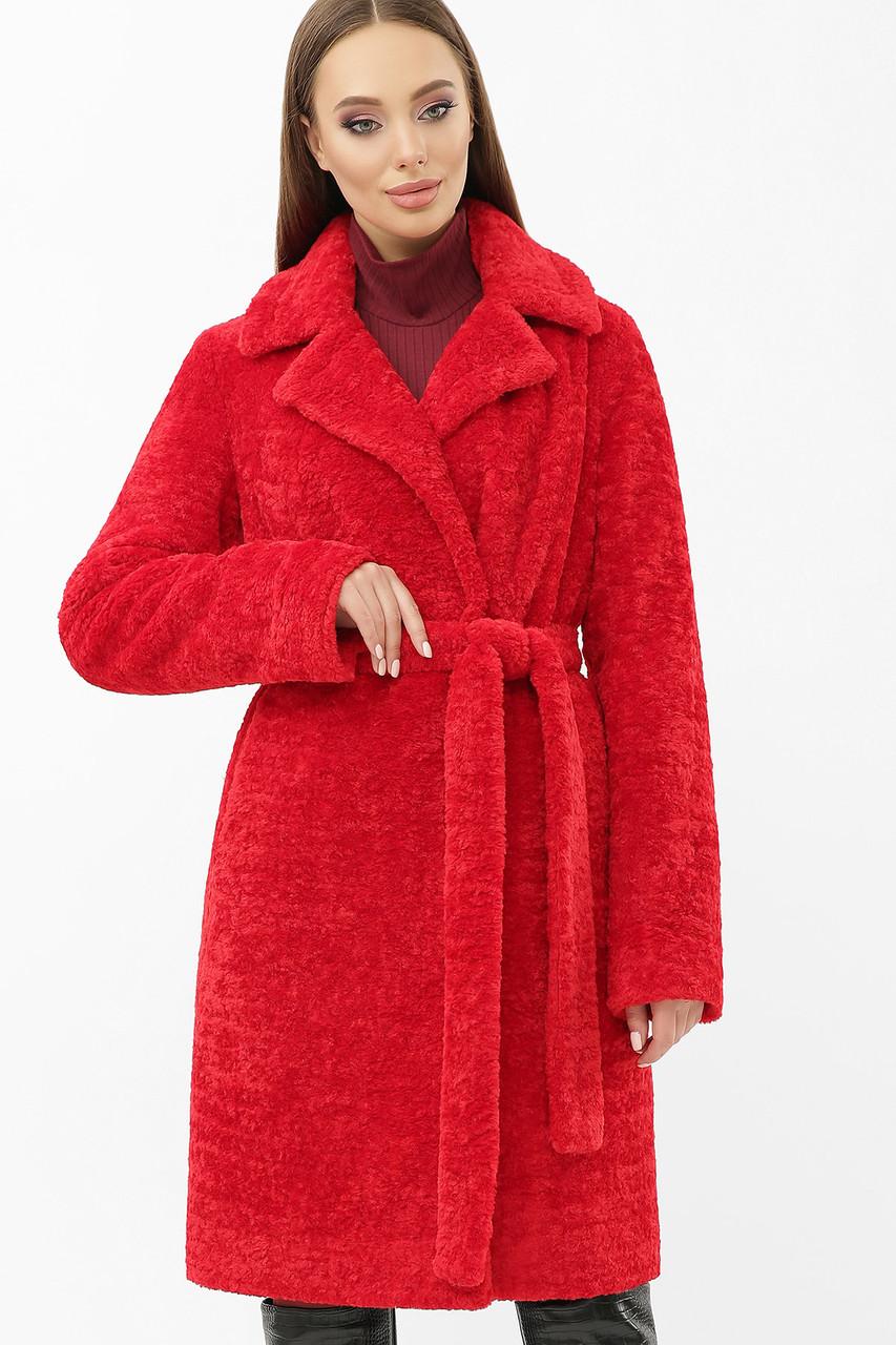 Женская шуба из экомеха красная ZM-07-100