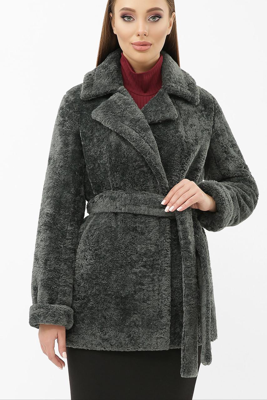 Женская шуба из экомеха укороченная темно-серая ZM-07-75