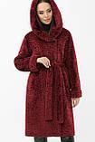 Шуба женская из экомеха с капюшоном бордовая ZM-08-105, фото 3