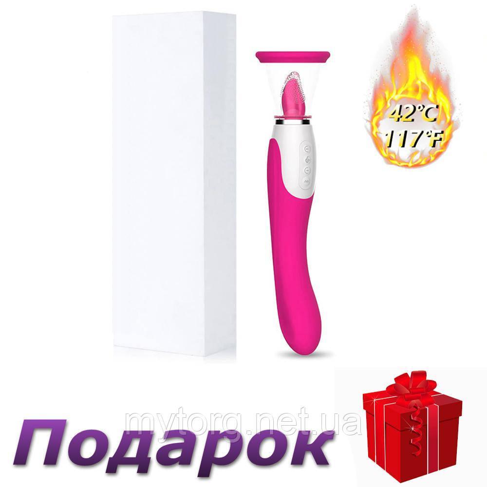 Вибратор с язычком всасывающий с подогревом 42С USB  Розовый