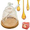 Банку для меду з ложкою на бамбуковій підставці 10*13см R30171