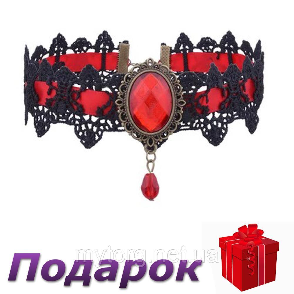 Чокер Лента ажурная с камнем  Красный