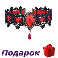 Чокер Лента ажурная с камнем  Красный, фото 1