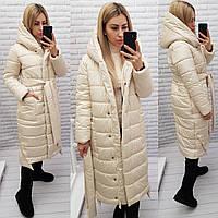 М032 Теплое зимнее пальто, цвет кремовый/молоко/светло-бежевое, плащевка матовая