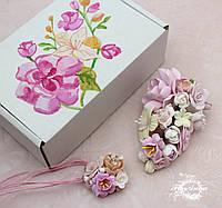 """Оригинальный подарок девушке на день Валентина. """"Зефирная нежность"""" (заколка+кулон+коробочка), фото 1"""