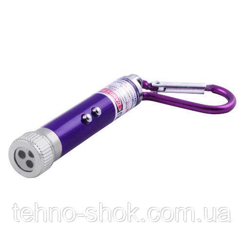 Фонарь брелок 1831-LED+UV (ультрафиолет), лазер, 3xLR44