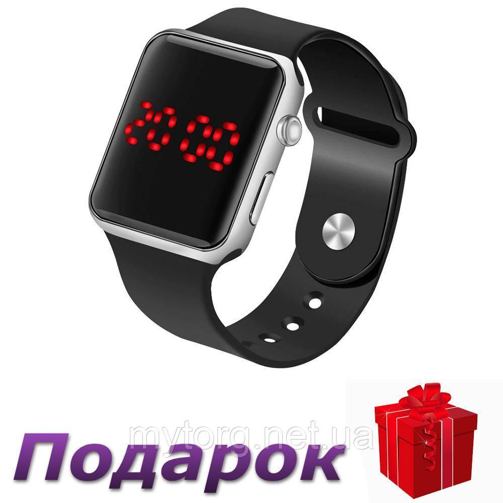 Часы цифровые в стиле Apple Watch мужские  Черное серебро
