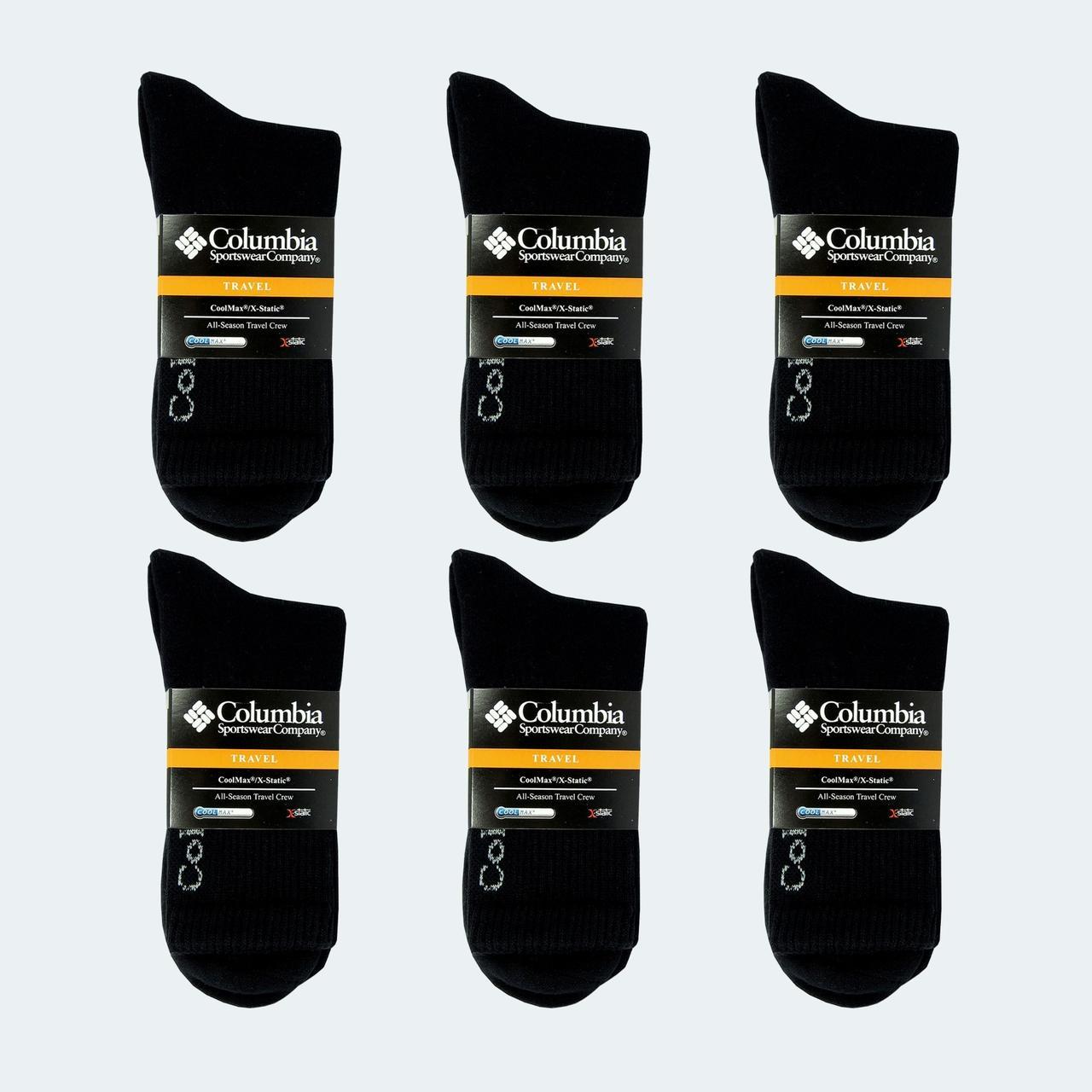 Зимние Термоноски Columbia, Набор 6 шт, цвет черный СС-4999-10