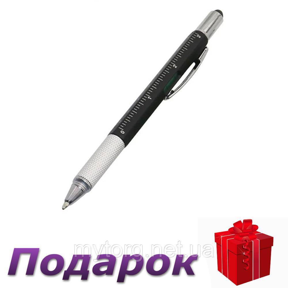 Шариковая ручка Genkky c отверткой, стилусом, линейкой и уровнем Черное чернило Черный