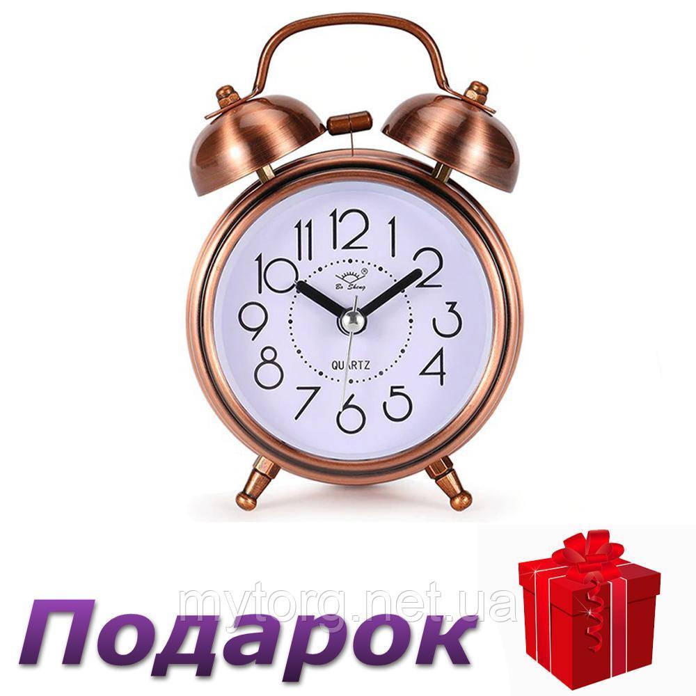Будильник часы Bo Sheng кварцевый в ретро стиле  Медь