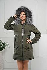 Зимова куртка жіноча натуральне хутро (чорнобурка FINLAND) Різні кольори
