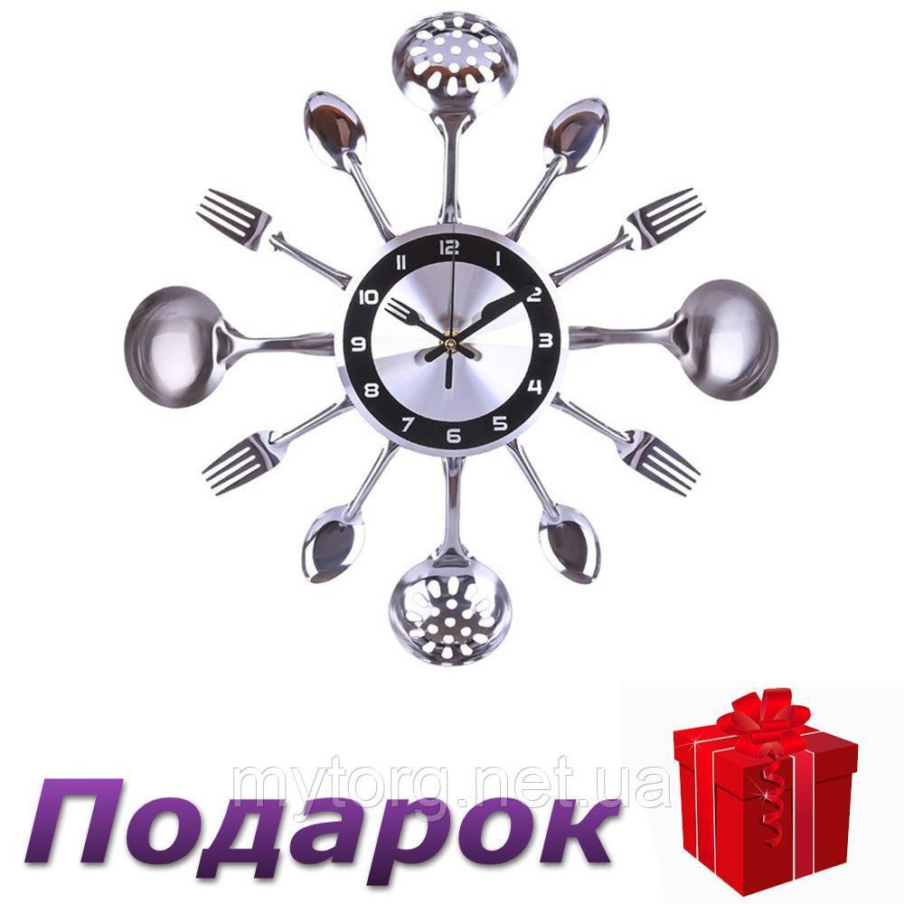 Часы на кухню Ложки вилки настенные 35 см Серый