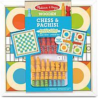 Дерев'яні шахи і пачиси Melіssa & Doug Double-Sided Wooden Chess & Pachisi Board Game, фото 1