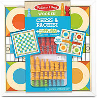 Деревянные шахматы и пачиси Melissa & Doug Double-Sided Wooden Chess & Pachisi Board Game, фото 1