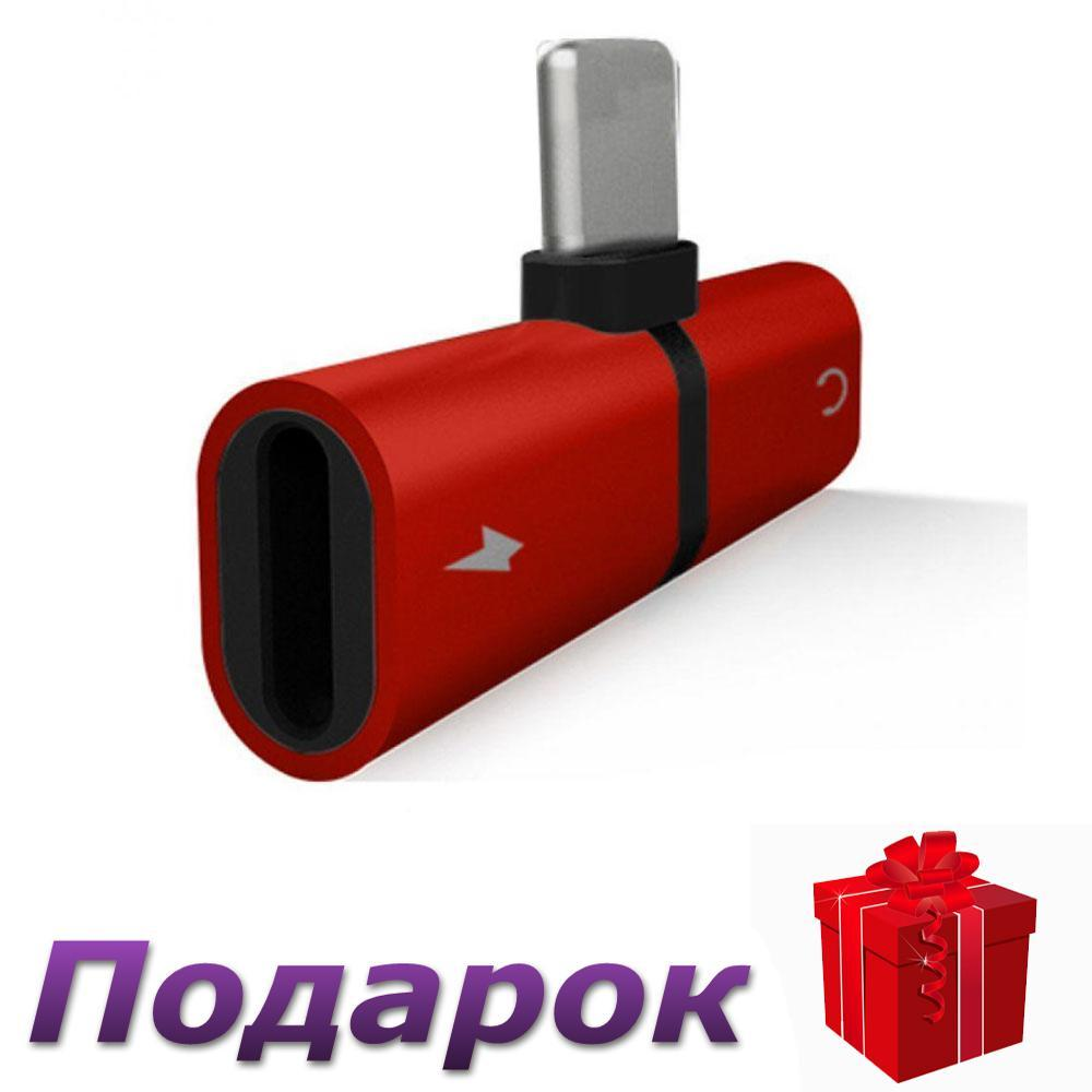 Адаптер 2 в 1 для зарядки и наушников Lightning IOS Красный