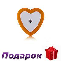 Светодиодный ночник с датчиком света Сердечко  Оранжевый, фото 1