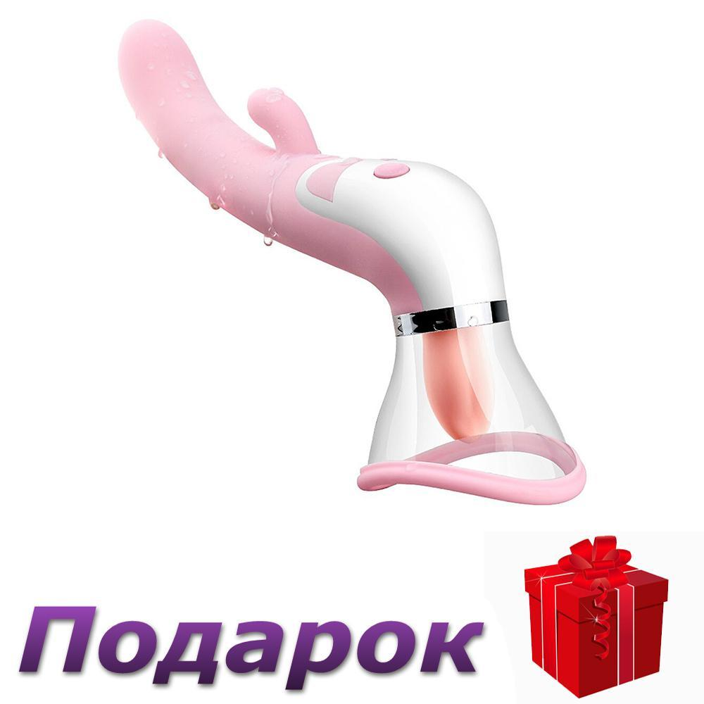 Вибратор всасывающий для клитора и сосков Khales USB с подогревом язычка