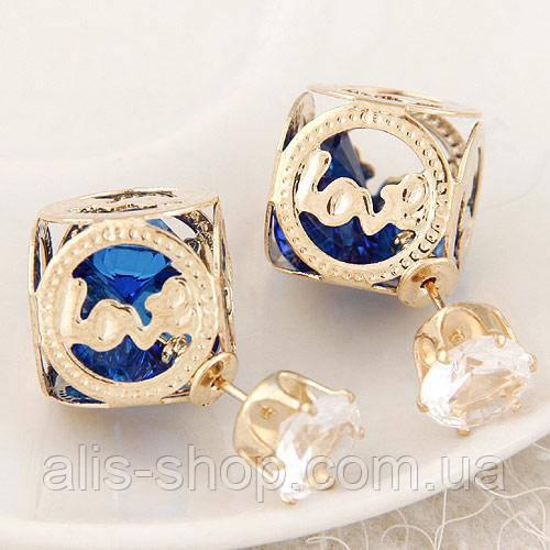 Серьги Mise En Dior квадратные LOVE с камушками внутри