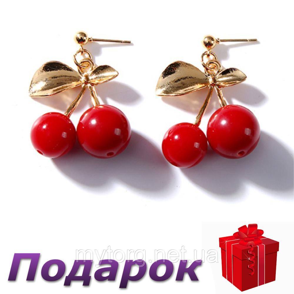 Сережки Красная Вишенка  Золото